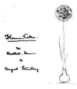 """Primeira página do exemplar da """"Sonata dos Espectros"""" de Strindberg. À direita um desenho de um Ascalom."""