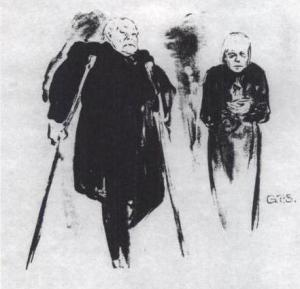 Paul Wegener como o Velho e Gertrud Eysoldt como a Múmia na produção alemã de Max Reinhardt de 1916.